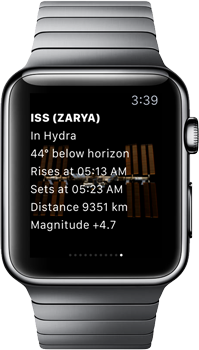 SkySafari 5 Apple Watch with ISS
