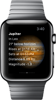 SkySafari Apple Watch with Jupiter